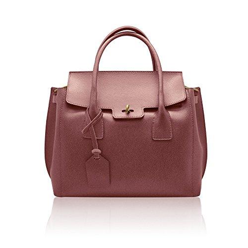 AURORA Sac portés main sac rabat à bandoulière avec métal brossé fermeture, cuir grainé rigide, fabriqué en Italie Rose antique
