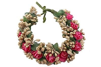 sanjog Women's Pink Fabric Juda Maker Flower Gajra Hair Accessory