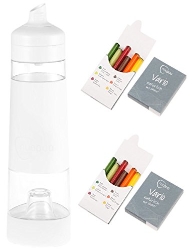 nuapua Trinkflasche 500 ml mit 12 Aromakapseln - bpa freies Trinksystem, Farbe: Weiß