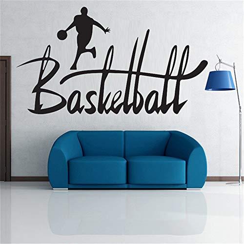 yiyitop Kreative Spielen Basketball Sport Mann Wandaufkleber Kontinuierliche Laufen zu Korb Wandtattoos Große Schöne Buchstaben Design Kunst Papier 57x103 cm