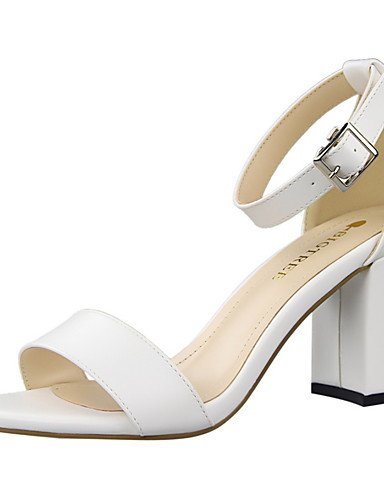 WSS 2016 Chaussures Femme-Habillé-Noir / Rouge / Blanc / Gris / Kaki / Amande-Gros Talon-Talons / Bout Arrondi / Bout Ouvert-Talons-Similicuir white-us8 / eu39 / uk6 / cn39