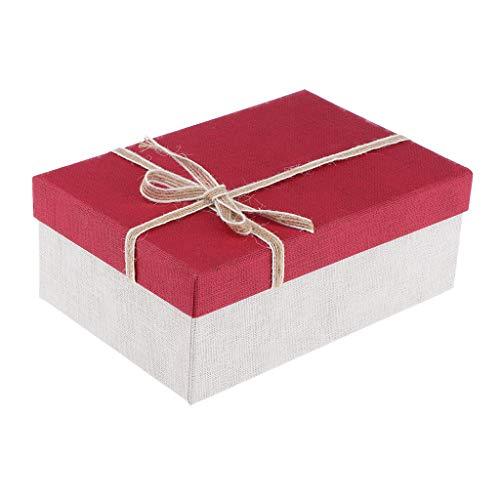 B Baosity Leer Edel Geschenkbox Schachtel Karton Aufbewahrungsbox Etui mit Schleife Design - rot
