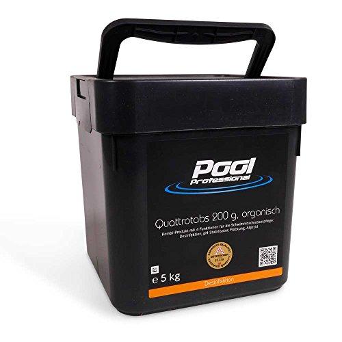 Quattrotabs 200g | 4 Funktionen 5,0 kg | Chlortabs 200 g | von Pool Professional | langsam löslich | zur Desinfektion des Schwimmbeckens
