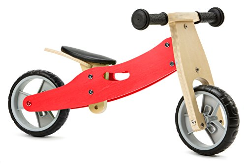 Nicko Mini Wooden Balance Toddler Bikes / Trikes 18 months - 3 years old (2 in 1 Red)