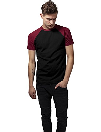 Urban Classics Herren T-Shirt Raglan Contrast Tee Mehrfarbig (Blk/Burgundy 651)