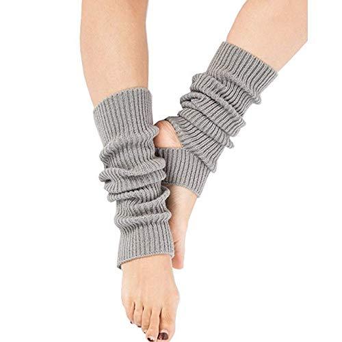 Zomiee Yoga-Socken für Frauen Mädchen Workout Socken ohne Zehenpartie Training Tanzstulpen, grau