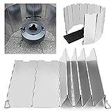 forepin Parabrisas Plegable para Camping Cocina Estufa, 10 Placas Plegable Picnic de Gas Cocina Wind Shield Protector de Plata Camping Bloqueador