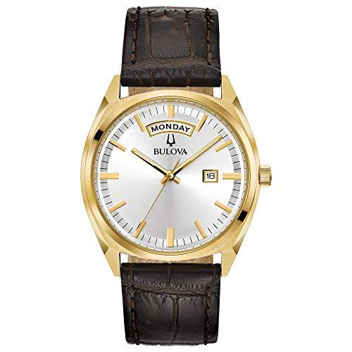 Bulova hombre 'Classic de cuarzo reloj Casual de piel y acero inoxidable, color: marrón (modelo: 97C106)