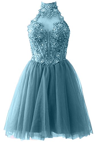MACloth Women High Neck Short Lace Gala Pageant Dress Cocktail Party Gown Turquoise