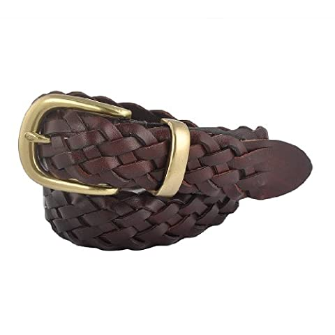 Eimbory Men Italian Calfskin Leather Braid Brown Woven Couple Belt Large