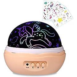 Luz nocturna para niñas, proyector de unicornio, 4 luces LED, 8 modos, lámpara y rotación, unicornios y diamantes, proyector de estrellas para habitación infantil y fiestas