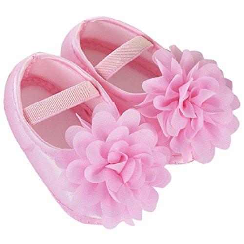 JIANGFU Chiffon Blume elastische rutschfeste weiche Unterseite Kleinkind Babyschuhe,Kleinkind-Kind-Baby-Chiffon- Blumen-elastische Band-neugeborene gehende Schuhe (11, PK)