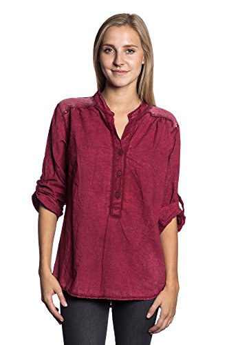 Abbino IG005 Langarm Shirts Tops Ragazze Donne - Made in Italy - Multiplo Colori - Mezza Stagione Primavera Estate Autunno Dinamico Tenerezza Leggero Semplici Shirts Maglie Tempo Libero Cotone Vino (Art. 18991)
