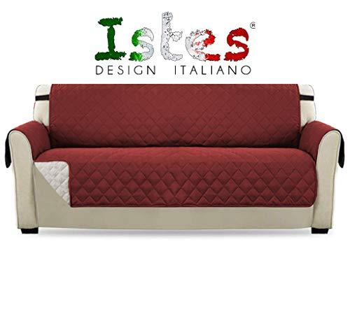 Istes copridivano 3 posti parzialmente impermeabile divano protector idrorepellente coperture su due lati per cani/gatti 188 x 285cm bordeaux bicolore bianco perla o grigio