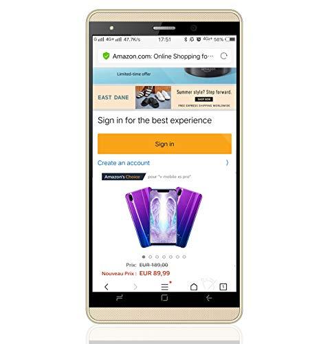 """Smartphone Pas Cher 4G J3, 16Go ROM Téléphone Portable Débloqué (Ecran: 5.2"""" IPS HD - Caméras 5.0MP - Android 7.0-2800mAh Batterie) Dual SIM Téléphone Portable Pas Cher sans Forfait (Or)"""