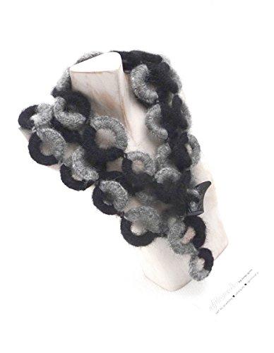 Exklusiv Halskette Wickelkette Lang Baby Alpaca Grau Schwarz in Geschenk Etui