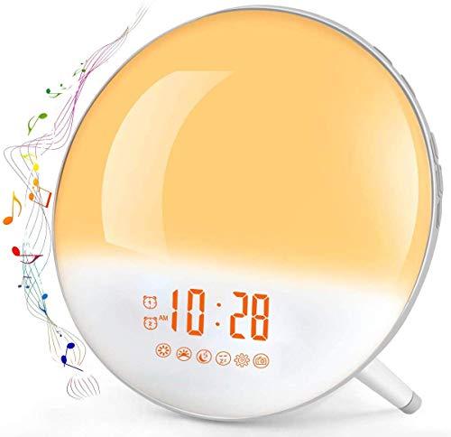 Lampe Réveil Enfant Radio Réveil Lumière avec Simulation Aube & Crépuscule Te-Rich Lampe de Chevet Veilleuse LED...