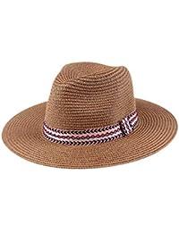 HhGold Gorra de Playa para Mujer de Verano Gorra de Sol para Exterior  Sombrero de Paja 888c70041ad