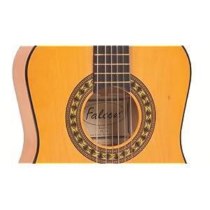Falcon FL34 - Chitarra acustica, modello classico, 3/4, colore: Legno naturale