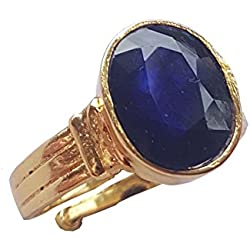 RS JEWELLERS Gemstones 5.38 Ratti Natural Certified BLUE SAPPHIRE neelam Gemstone Panchdhatu Ring ,Pukhraj Birthstone Astrology Ring