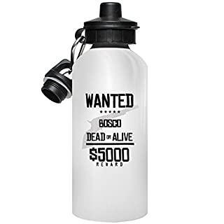 MugMax Wanted Dead or Alive Aluminum Water Bottle Personlised Arkema White 600ml / 20 oz