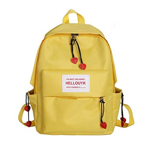 Schultasche Damen Rucksack Elegant Rucksackhandtaschen Mode Mädchen Schule Student Im Freien Reise Backpack Anti Diebstahl Taschen Qmber Nylon vielseitige einfache Mode Studententasche,Gelb -