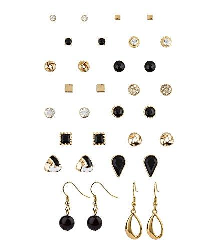 SIX großes Set mit 16 verschiedenen Ohr Ringen Steckern Hängern, geometrische Formen in gold, weiß und schwarz, Glitzer (702-261)