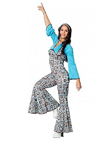 (shoperama 70er Jahre Disco Retro Damen Overall mit Haarband Seventies Kostüm Türkis/Braun, Größe:36)