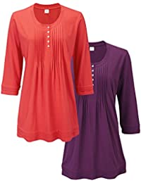 2360e47635e Cotton Traders Womens 3/4 Sleeve Scoop Neck Hip Tunic 2 Pack
