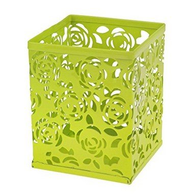 Lubier 1pcs square hollow rose flower portapenne metallo matita pot organizer da scrivania creativa contenitore custodia durevole trash per home office 8 x 8 x 10 cm green