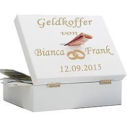 Geschenke 24: Geldkoffer zur Hochzeit (Weiß) - Ringe - originelles Geldgeschenk - personalisierte Spardose - Geldspardose Hochzeitsgeschenk