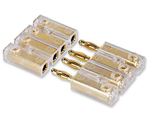 Yonix 4-Fach Bananenstecker | Steckverbinder | vergoldet | für Kabel bis 6mm² | BSY-384