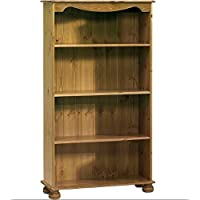 Steens Home Office Pine Bookcase with 3 Shelves - Perfect Bookcases For Any Hallway, Living Rooms, Dining Room, Conservatory and Bedroom