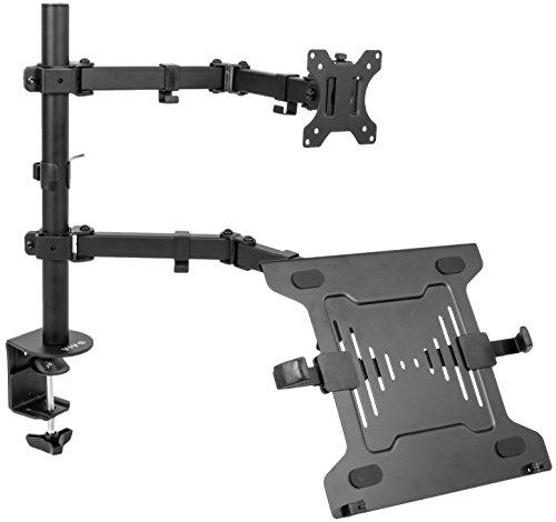 Vivo Full Motion Monitor + Laptop Desk Mount Gelenkige Double Center Arm Gelenk VESA Ständer | passt 33cm zu 81,3cm Bildschirm (stand-v102C) - Clips Bildschirm Halter