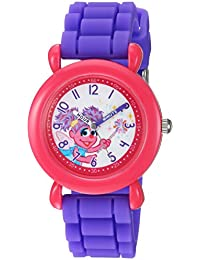 eWatchFactory Girl's 'Sesame Street' Quartz Plastic and Silicone Casual Watch, Color:Purple (Model: WSS000038)