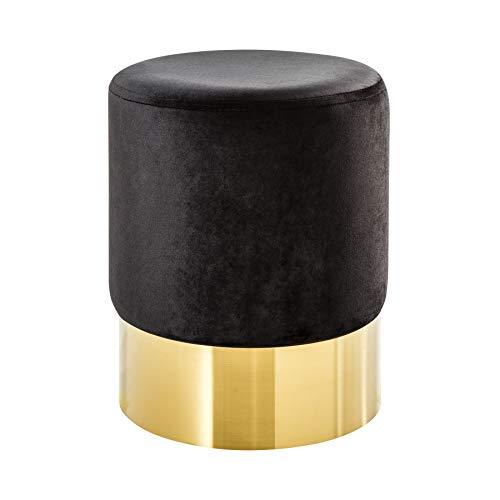 Riess Ambiente Eleganter Sitzhocker MODERN BAROCK SAMT schwarz Gold Couchtisch Fußhocker Hocker Samtstoff
