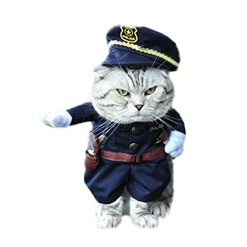 GWELL Lustig Bekleidung Kostüm Kleider Cosplay für Hund Katze Haustier, Polizei Cop Kostüm, M (Kostüme Cop)