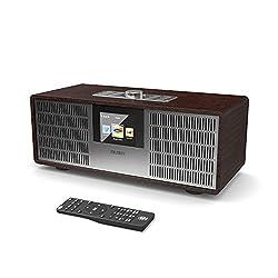MAJORITY Sidney Internetradios 25W Wi-Fi WLAN Verbindung, DAB/DAB+/FM Digital-Radio, Bluetooth, Fernbedienung, USB Eingang/Aufladen, Aux-in, Dual Wecker und Einstellungen (Nussbaum)