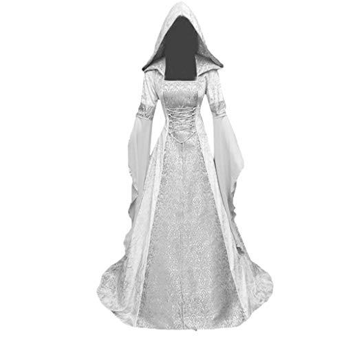 Sonnena Damen Langarm Mittelalter Kleid Hexenkostüm Umhänge Vampir Gothic Viktorianischen Prinzessin Renaissance Bodenlanges Kapuzenkleid Cosplay - Leicht 1950 Kostüm