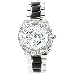Damen-Armbanduhr in Stahl Silber Diamanten CZ Michael John 1720