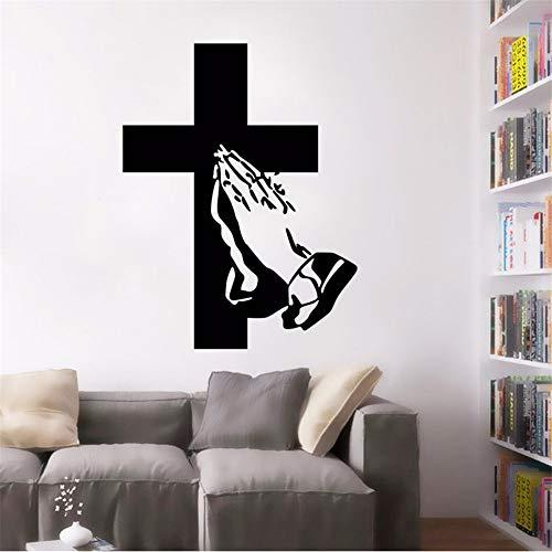 Hlonl Kreuz Design Wandtattoo Jesus Anhänger Applaudieren Wandaufkleber Home Wohnzimmer Decor Removable Vinyl Religion Wand Poster 57 * 74 Cm