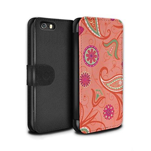 Stuff4 Coque/Etui/Housse Cuir PU Case/Cover pour Apple iPhone SE / Pack 12pcs Design / Printemps Collection Orange/Rose
