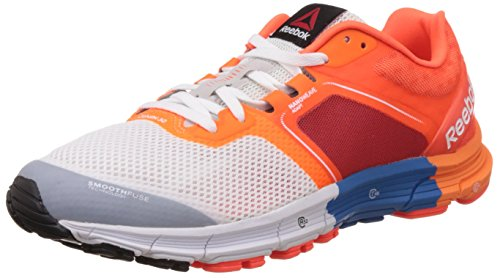 Reebok Men's One Cushion 3.0 White, Blue, Red Bright Orange Running Shoes - 7 UK