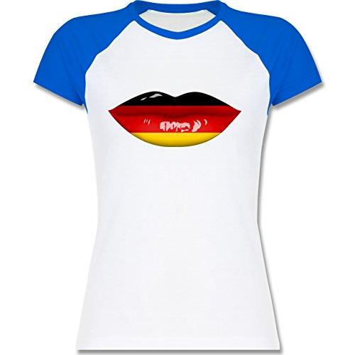 Shirtracer Fußball-WM 2018 - Russland - Lippen Bodypaint Deutschland - Zweifarbiges Baseballshirt/Raglan T-Shirt für Damen Weiß/Royalblau