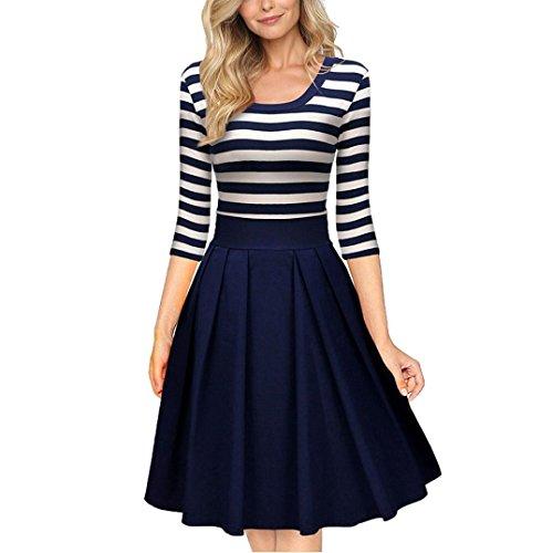 Bekleidung Longra Damen kleider Marine-Stil Streifen Rundhals Ärmel lässig Swing Kleid für Damen elegante kleider (s, Blue) (Marine In Dress Blues)