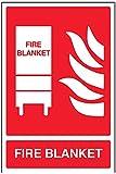 vsafety 11034au-s cartello estintore, Coperta antincendio, Autoadesivo, ritratto, 200mm x 300mm, colore: rosso