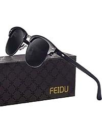 FEIDU Halbrahmen Polarisierte Klassische Metall Sonnenbrillen Herren-Retro Polarisierte Sonnenbrille Damen FD 3031