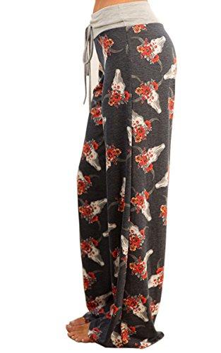 Angashion Damen Blumenmuster Weite Bein Lange Hose Dunkelgrau 1