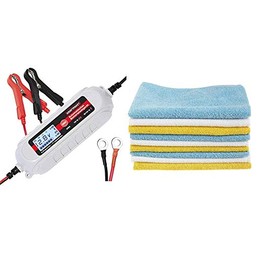 Dino KRAFTPAKET 136312 Batterieladegerät 6V/12V-4A mit Batterietester und Erhaltungsladung für KFZ PKW Auto Motorrad mit Komfortstecke & AmazonBasics Mikrofaser-Reinigungstücher, 24 Stück