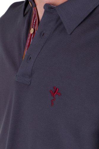 B FROG Herren Poloshirt - Classic Fit Braun mit rotem Kragen